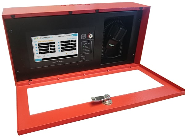 Touch screen voice alarm control microphone in weatherproof enclosure