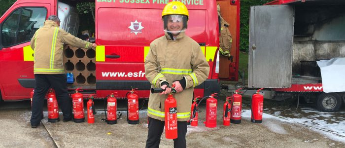 Bob Schulz as fireman at our fire training day